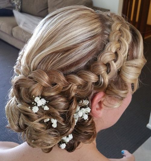 Long Curly Hair Wedding Hairstyles: 7 Curly Wedding Updo With A Dutch Braid For Long Hair