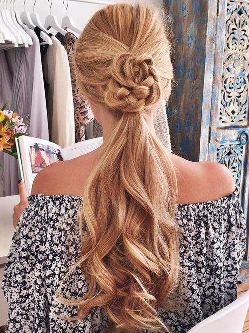 1 Long Ponytail Hairstyle With A Braided Detail