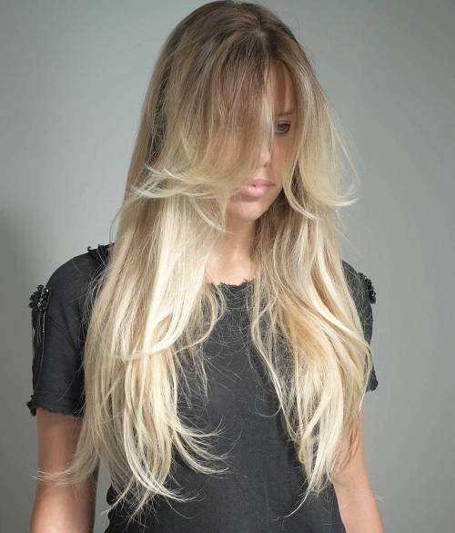 1 Long Thin Layered Blonde Balayage Hair