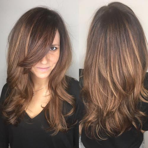 11 Long Layered Cut With Bangs For Thick Hair