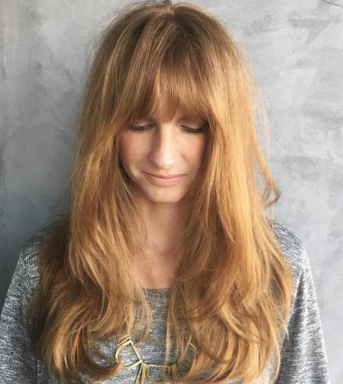 12 Long Strawberry Blonde Hairstyle With Bangs