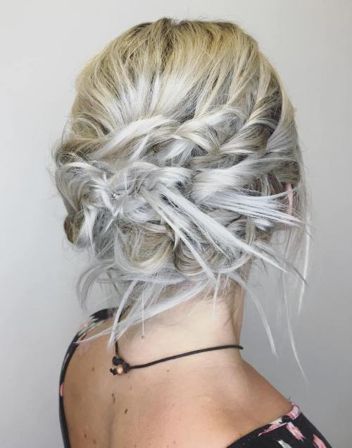 12 Messy Blonde Updo With Twists