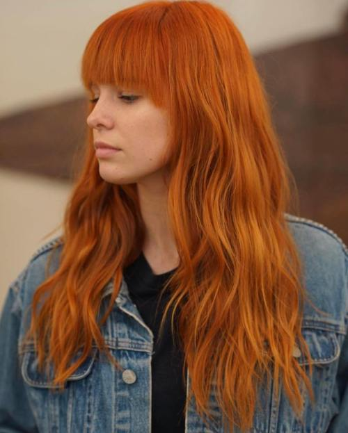12 Red Wavy Long Hairstyle With Bangs