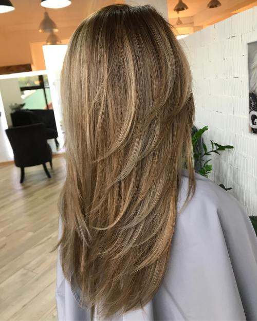 14 Long Haircut With Vcut Layers
