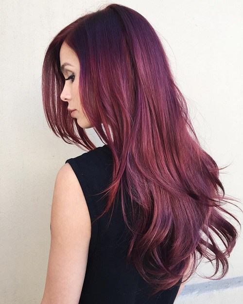 14 Long Layered Burgundy Hairstyle