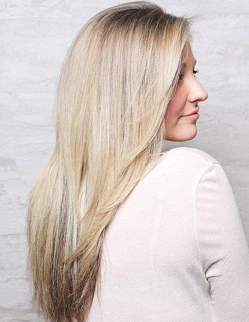 14 Long Straight Blonde Hairstyle