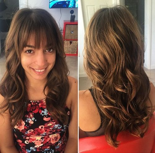 14 Wavy Layered Hairstyle With Bangs For Long Hair