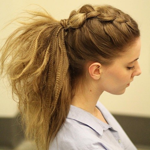 15 Casual Crimped Ponytail With Mohawk Braid