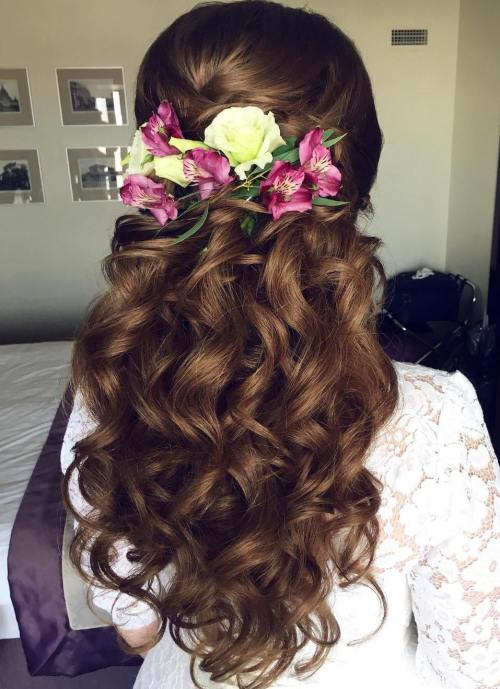 15 Curly Wedding Half Updo With Flowers