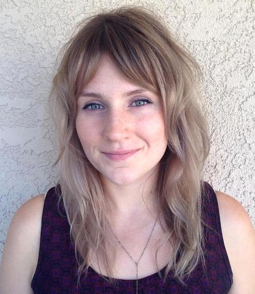 16 Light Brown Layered Hairstyle With Bangs