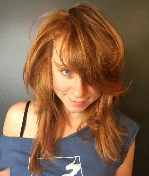 17 Medium Copper Red Hairstyle With Bangs