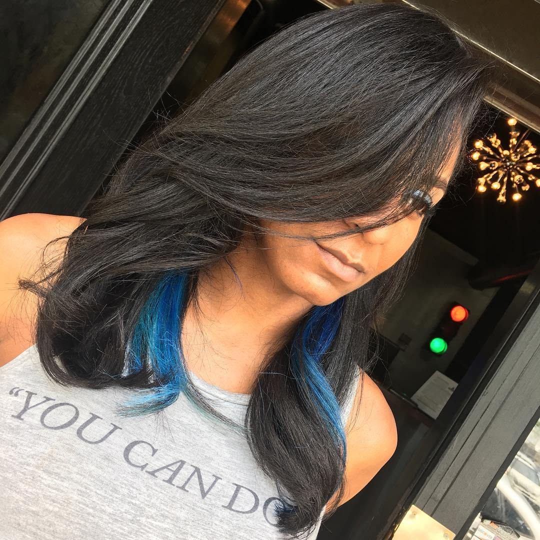 18 Medium Black Hairstyle With Blue Highlights