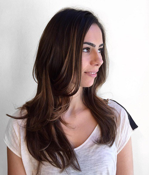19 Long Layered Brunette Hairstyle
