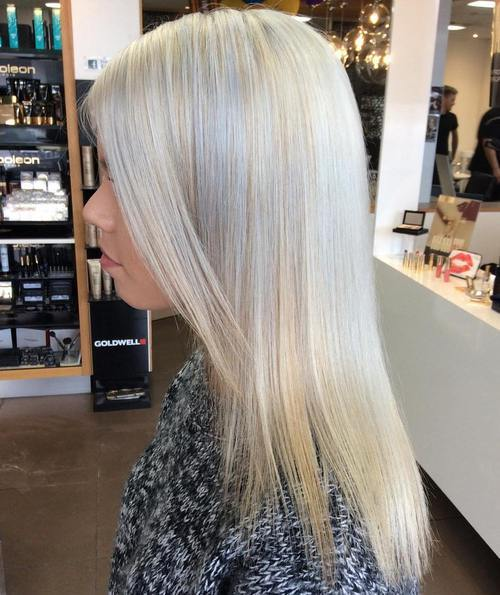 19 Silver Blonde Straight Hairstyle For Thin Hair