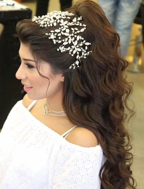 19 Wedding Wavy Half Updo