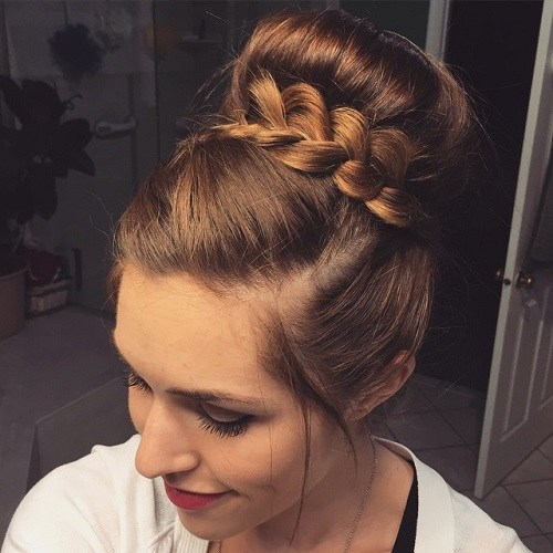 2 Bun With A Braid Around