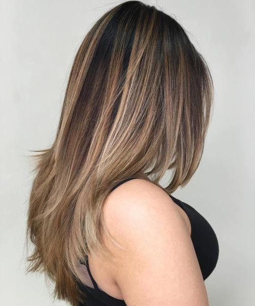 20 Straight Layered Brown Balayage Hair