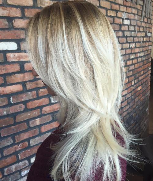 4 Blonde Layered Hair With Root Fade