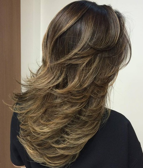 4 Brunette Layered Ombre Balayage Hairstyle