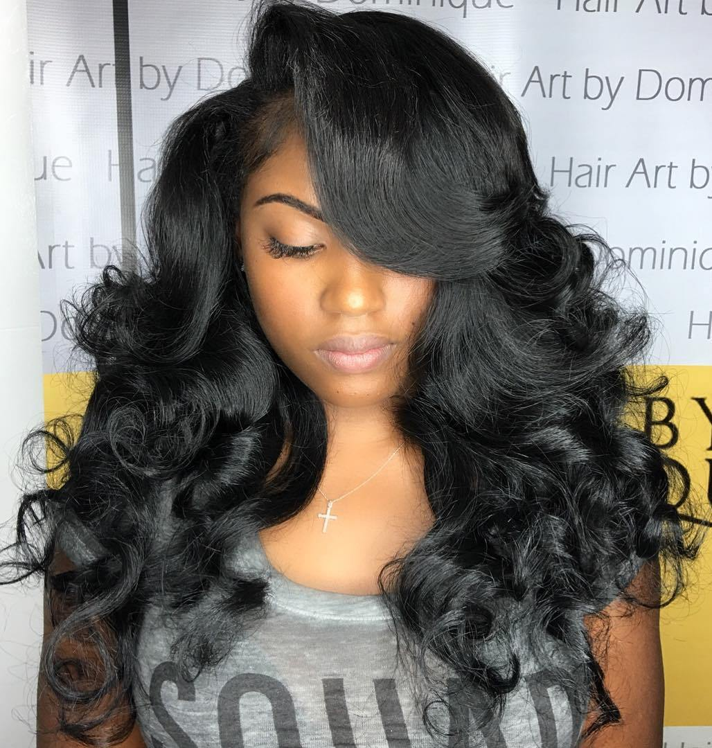 4 Long Black Curled Hairstyle