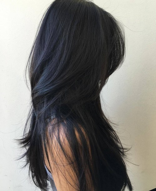 5 Long Black Layered Hairstyle