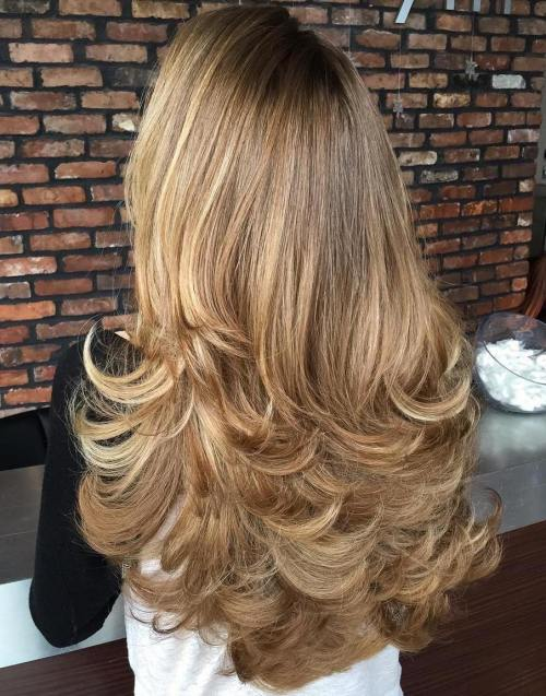 5 Long Flicked Layered Hairstyle