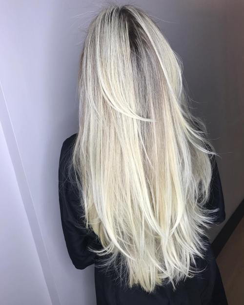 6 Extra Long Blonde Layered Hairstyle