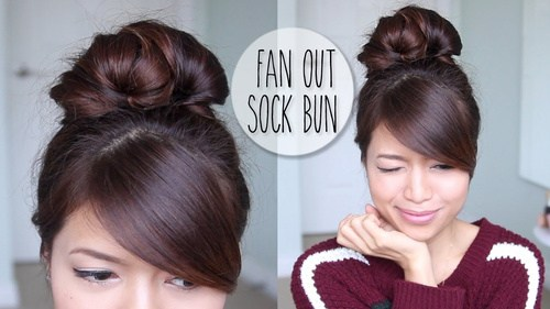 6 Fan Out Sock Bun