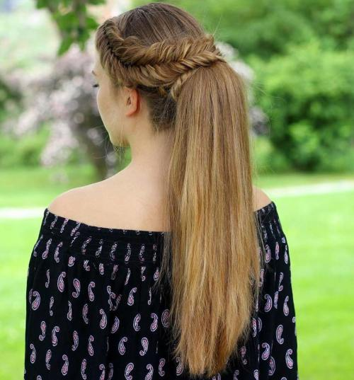 6 Fishtail Crown Braid And Ponytail
