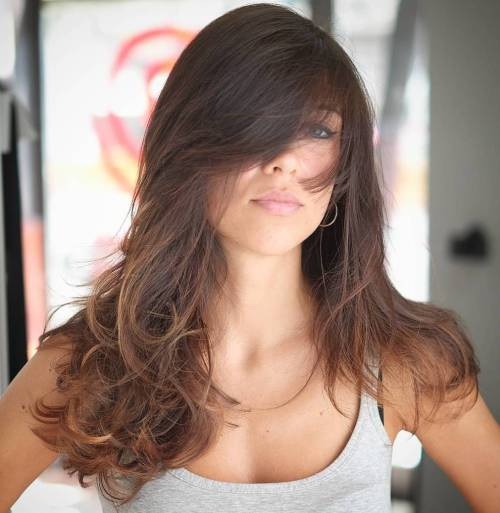 7 Long Brown Ombre Hairstyle With Bangs