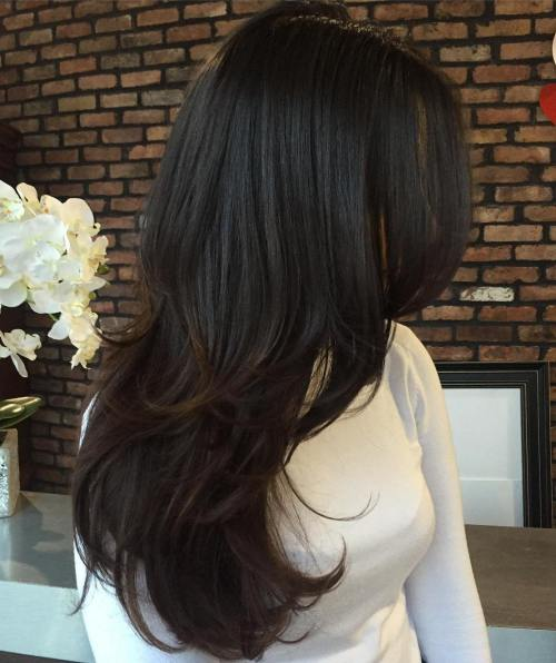 9 Brunette Layered Hairstyle For Long Hair