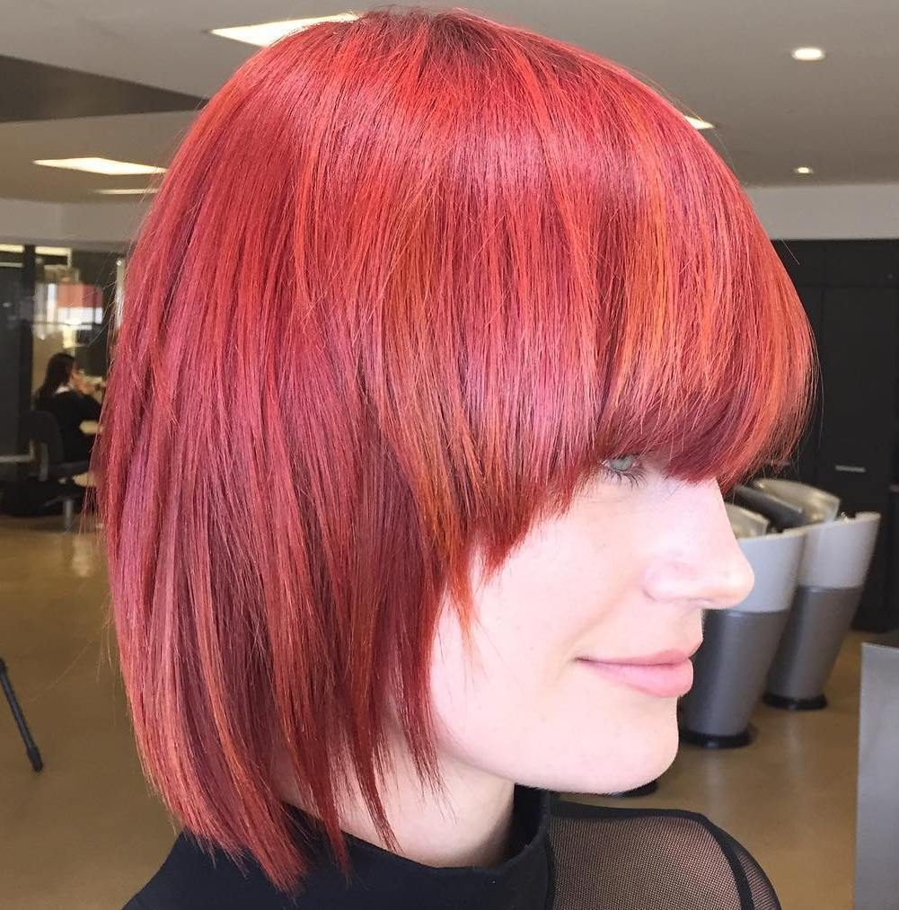 3 Short Magenta Hair With Red Highlights