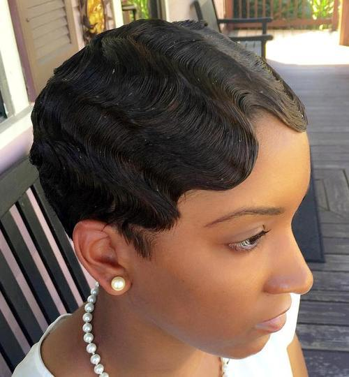 African American Short Finger Wave Hairstyles Dark Skin Finger Waves
