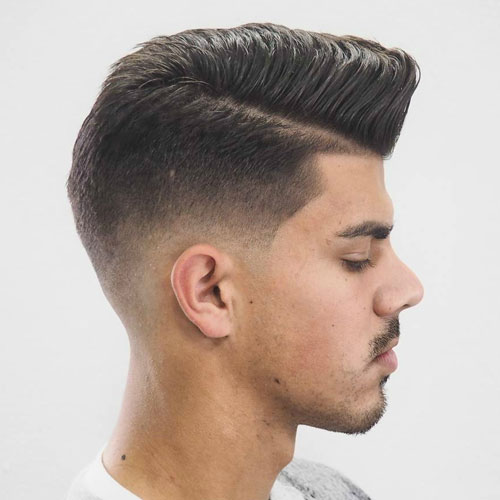 Comb Over Pomp With Low Fade And