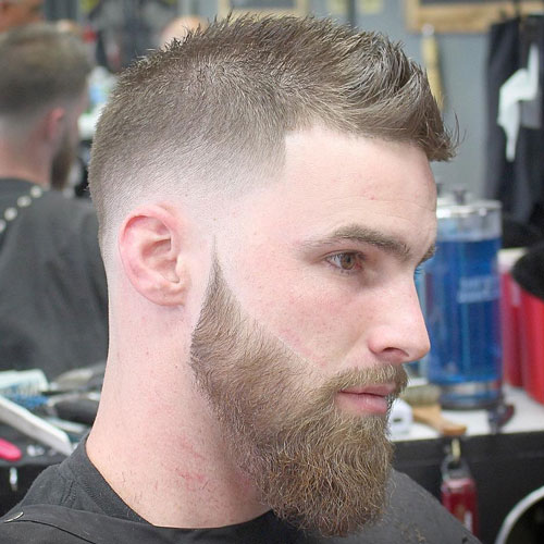 Faux Hawk With Low Fade And Beard