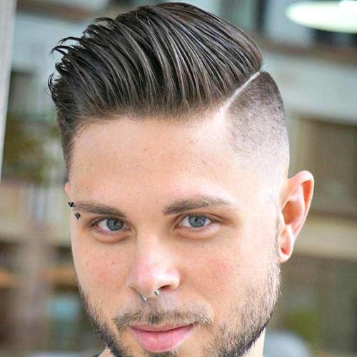 Hard Part Comb Over With Fade And