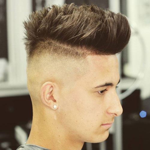 High Bald Fade With Brushed Up Hair