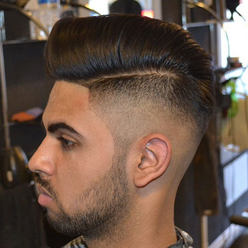 High Bald Fade With Comb Over Pompadour