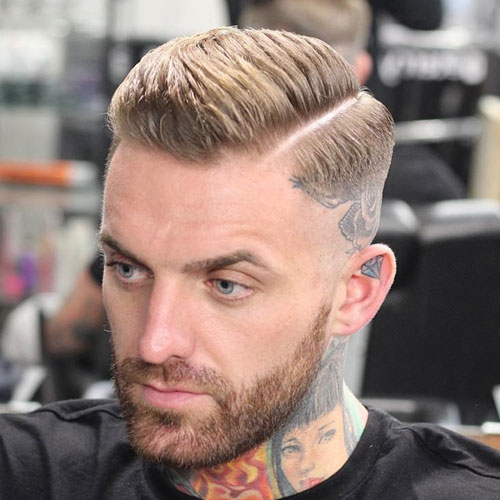 High Razor Fade With Part And Beard