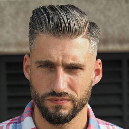 Low Taper Fade Comb Over With Part And Beard