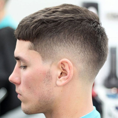 Low Taper Fade With Crew Cut And Short Fringe