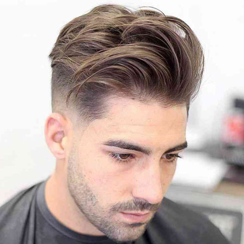 Messy Textured Quiff Low Fade