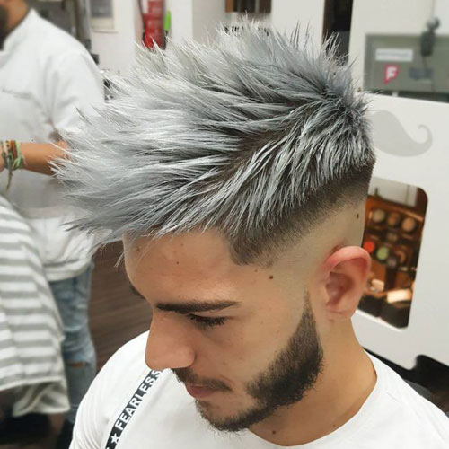 Shaved Sides Spiky Hair On Top Grey Dyed Hair