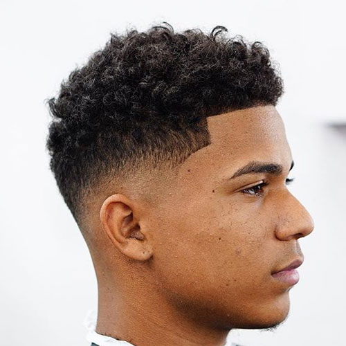Short Curly Top Low Bald Fade Shape Up
