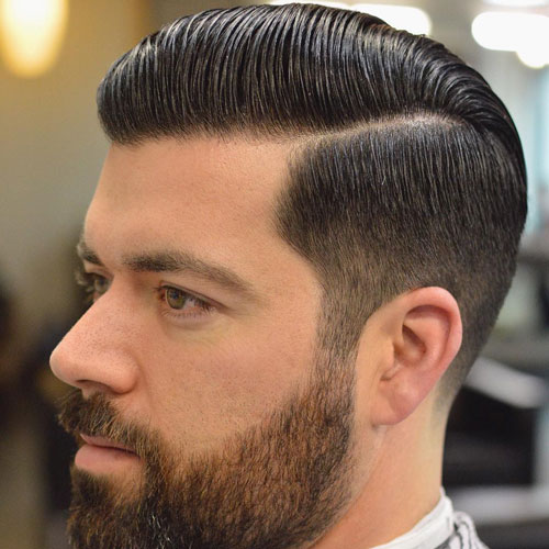 Taper Comb Over With Hard Part