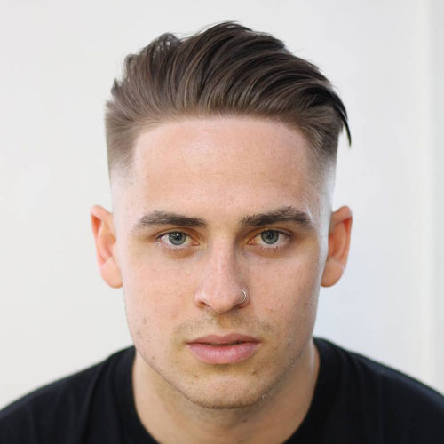 Taper Fade With Brushed Back Hair