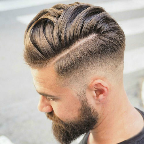 Thick Comb Over With Razor Fade A