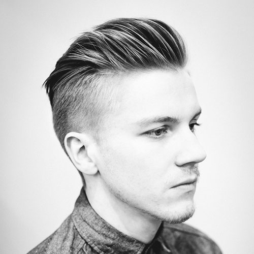 Thick Mens Haircuts Slicked Back Undercut