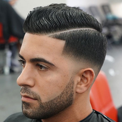 Wavy Comb Over Hard Part Low Bald Fade Beard