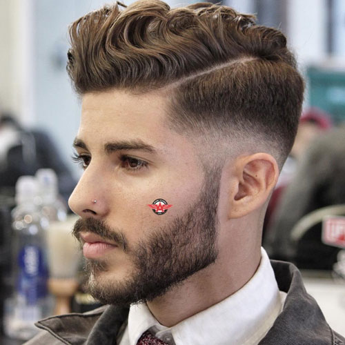 Wavy Comb Over Hard Part Low Bald Fade